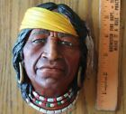 Bossons England Chalkware Wall head Native American Indian headscarf feathers