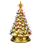 15 Prelit Hand Painted Ceramic Tabletop Christmas Tree Battery Powered Gold