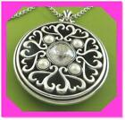 BRIGHTON EMMA Emme Heart Silver Pearl Round Medallion Pendant NECKLACE NWtag 68