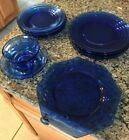 Depression Glass Lot COBALT BLUE GLASS PLATES  CUP  SAUCER SET SMALL  LARGER