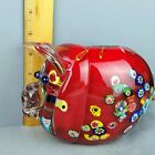 Murano Millefiori Pig Red Glass Piggy Bank New Old Stock 1041