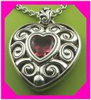 BRIGHTON TRUE HEART Red Silver Scroll Pendant NECKLACE NWtag
