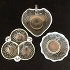 Fenton Clear Glass Hobnail Opalescent Moonstone Snack Serving Set USA 3 Pieces