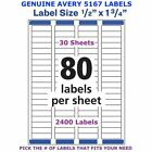 Avery Easy Peel Laser Return Address Labels 12 X 1 34 5167 Pick Your Own