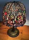LARGE VINTAGE 27 TALL TIFFANY STYLE STAINED GLASS TABLE LAMP