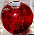 Konst Glashyttan Urshult Art Glass Red CONTROLLED BUBBLE Paperweight w Label