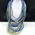 Chicos Wood Acrylic Glass Blue Green Multi Strand Beaded Statement Necklace