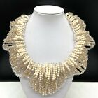 Chicos Clear  Cream Beaded Crystal Glass Bib Collar Statement Necklace Formal