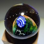 Josh Simpson Partially Inhabited Planet Art Glass Marble with Bubble Contrail
