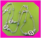 BRIGHTON GLASS WINGS Flower Butterfly Blue Bead Silver LONG Necklace NWotag