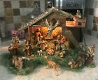 VINTAGE 22 PIECE NATIVITY SET PAPER MACHE HAND PAINTED MADE IN ITALY EXCELLENT