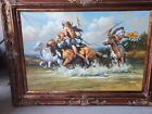 Breathtaking Original Oil Painting By Jim Carson Western Native American framed