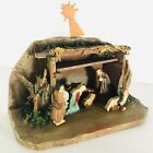 ANRI Vintage Nativity Creche Diorama Hand Carved Wood Figures Manger Made Italy