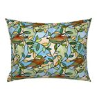 Stained Glass Birds Green Leaves Vines Blue Sky Pillow Sham by Roostery