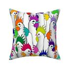 Rainbow Rooster Colorful Farm Throw Pillow Cover w Optional Insert by Roostery
