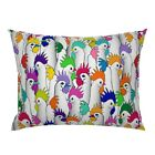 Rainbow Rooster Colorful Farm Chicken Chickens Poultry Pillow Sham by Roostery