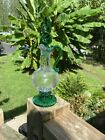 Bonita Glass Vintage Green Crackle Art Glass Cruet with Twisted Stopper