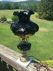RARE VINTAGE FENTON EMBOSSED BLACK AMETHYST GLASS Hand Painted Roses LAMP SIGNED