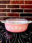 Vintage Pyrex Pink White Daisy 043 Oval Casserole Dish 1 1 2 Qt With Lid