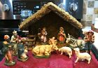 Vintage Nativity Set of 12 Made in Italy Paper Mache Beautiful w Stable