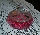 VINTAGE FENTON CRANBERRY PUFF BOX w LID DIAMOND OPTIC c 1940s EXCELLENT