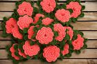 Set of 24 Large 6 Hand Crocheted Pink 5 Layered Rose Flower Appliques Quilting
