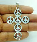 Silver Cross Peace Sign Pendant Large 925 Sterling Silver Charm Necklace