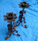 Pair of Vintage Antique Floral Metal Candlestick Candle Holders Flower Leaves