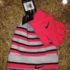 Nike Youth Girls 2pc Hat & Glove Set Racer Pink Brand New
