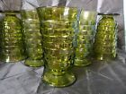 6 Vintage Indiana green Glass Water Tea Goblets