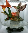 GLASS BOWL WITH HummingbirdS Collectible candle holders trinket dish