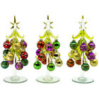 8 Tabletop Display Glass Christmas Tree Figurines with Ball Ornaments Set of 3
