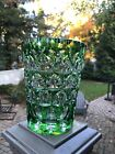 Gorgeous Czech Bohemian Green Cut to Clear Crystal Vase