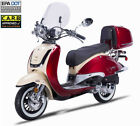 FREE SHIP 2020 150cc Moped Gas Scooter Retro Motorcycle Windshield Trunk LED USB
