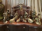 Vintage MCM Hollywood Regency Style Large Gold Nativity 12 Piece Set Plus Manger