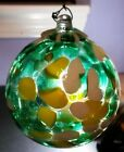 Kitras Art Glass Orb CALICO green yellow Ornament Witch Ball Multi Color 4