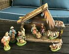 Vintage Nativity Set 9 FigurinesResin plus StableWood All Made in Italy