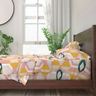 Modern Geometric Stained Glass Art Deco 100 Cotton Sateen Sheet Set by Roostery