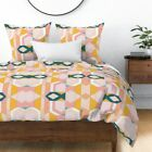 Modern Geometric Stained Glass Art Deco Inspired Sateen Duvet Cover by Roostery