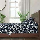 Wildflowers Summer Native Navy White 100 Cotton Sateen Sheet Set by Roostery