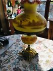 Fenton Burmese Mountains Trees Student Lamp signed Connie Ash