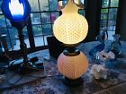 VINTAGE Fenton Milk Glass Hobnail Gone With The Wind Double Ball Lamp GWTW CLEAN