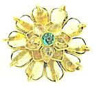 yy Tory Burch Ring Gold Tone Petal Flower Glass Gripoix Green Cocktail Statement