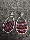 Stunning Brighton multi color glass beads Silver tone hoop wire earrings