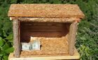 LARGE Hand Crafted WOOD Christmas NATIVITY Creche Stable Manger  3 Palm Trees