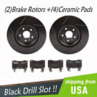 New Front Black Drill Slot Rotors + Ceramic Pads For Chevrolet Camaro SS 62L