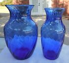 Vintage Pair of Cobalt Blue Illusions Vases 1518 Hand Blown Indiana Glass