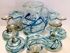 LARGE 8pc Set Margarita Pitcher And 7 Glasses Hand Blown Art Glass Applied Blue