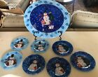 Fused Glass Snowman Christmas Large Serving Bowl 7 Plates Rare MINT