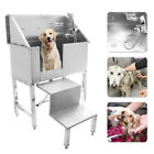 34 Stainless Steel Pet Grooming Bath Tub Dog Cat W Faucet Sprayer Hose Stair